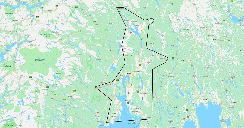 Et kart over reiseruten til Stil tekstilservice